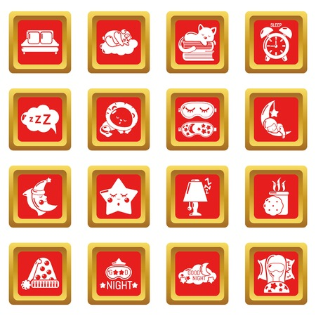 Sleeping icons set in red square vector illustration.