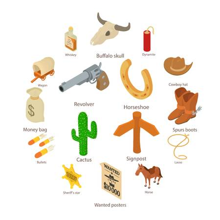 Wild west icons set, isometric style illustration.