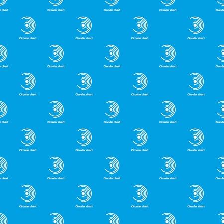 Circular chart pattern vector seamless on blue background. Illustration