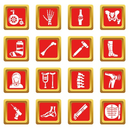 Orthopedist bone tools icons set