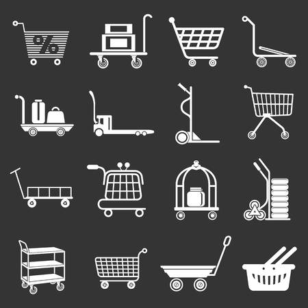 Cart types icons set vector white isolated on grey background