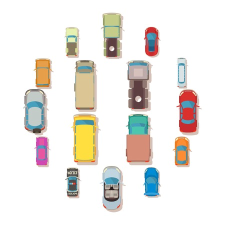 Car top view above over icons set. Flat illustration of 16 car top view above over vector icons for web