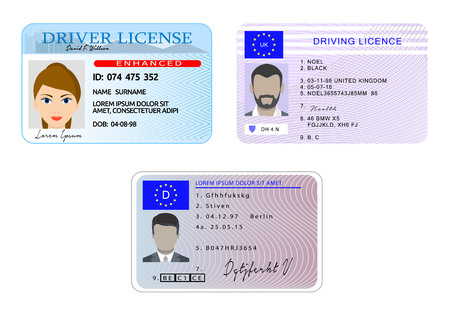 Car driver license with photo vehicle identity banner horizontal concept set. Flat illustration of 3 car driver license with photo vehicle identity vector banner horizontal concepts for web