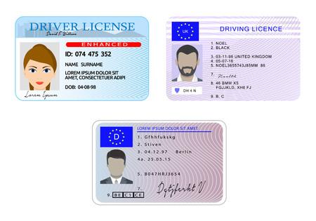Licencia de conducir de coche con foto identidad de vehículo banner concepto horizontal conjunto. Ilustración plana de la licencia de conducir de 3 automóviles con conceptos horizontales de banner de vector de identidad de vehículo de foto para web Ilustración de vector