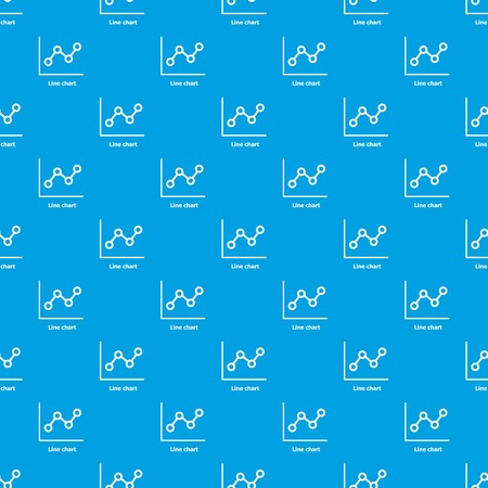 Line chart pattern vector seamless blue repeat for any use.