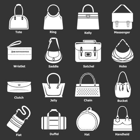 Woman bag types icons set vector white isolated on grey background  Stock Illustratie