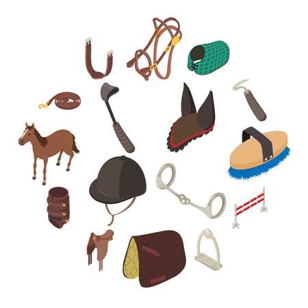 Horse sport equipment icons set. Isometric illustration of 16 horse sport equipment vector icons for web