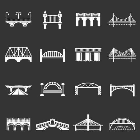 Bridge icons set vector white isolated on grey background