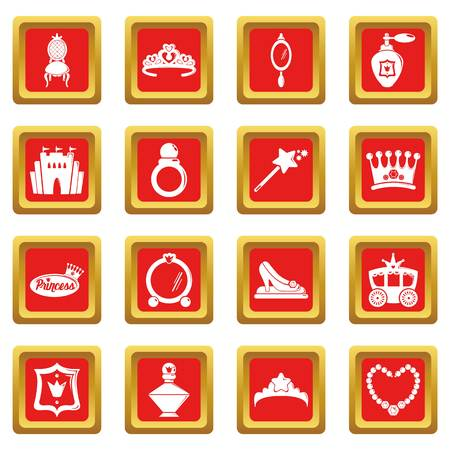 Princess doll icons set vector red square isolated on white background