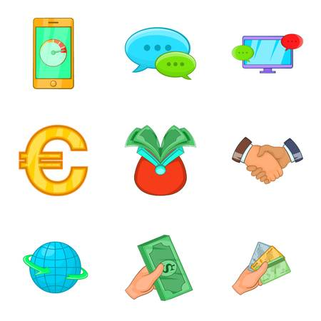 Cheap credit icons set. Cartoon set of 9 cheap credit vector icons for web isolated on white background Illustration