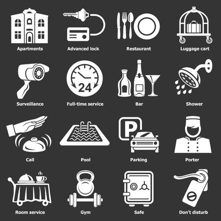 Hotel service icons set vector white isolated on grey background