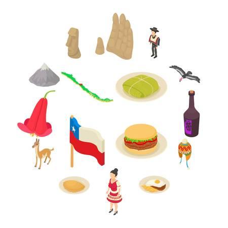 Chile travel icons set. Isometric illustration of 16 Chile travel vector icons for web Illustration