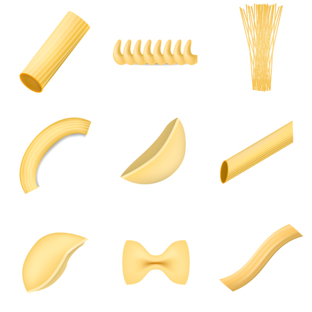 Macaroni pasta spaghetti mock up set. Realistic illustration of 9 macaroni pasta spaghetti mock ups for web. Archivio Fotografico - 99732787