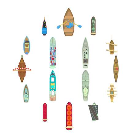 Boat top view above over icons set. Cartoon illustration of 16 car top view above over vector icons for web