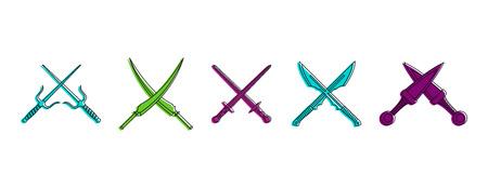Insieme dell'icona della spada di croci. Insieme del profilo di colore delle icone di vettore della spada degli incroci per web design isolato su fondo bianco Archivio Fotografico - 99769612