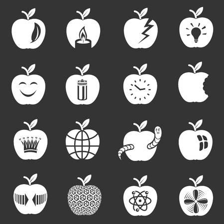 Apple logo icons set vector white isolated on grey background