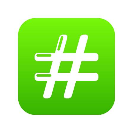 Hashtag icon green vector isolated on white background