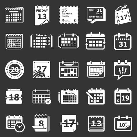 Calendar schedule planner icons set vector white isolated on grey background