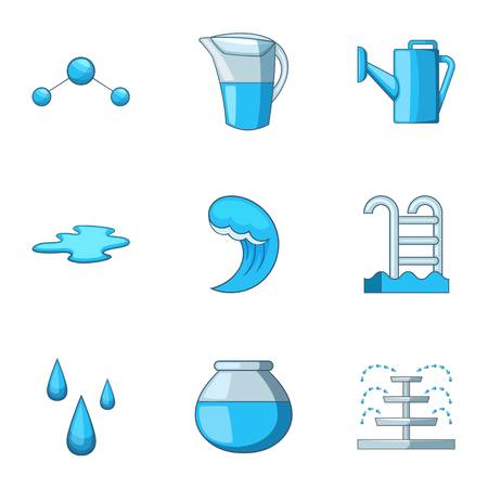 Water supply icons set. Cartoon set of 9 water supply vector icons for web isolated on white background Stock Illustratie