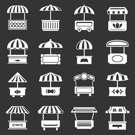 Street food kiosk icons set vector white isolated on gray background