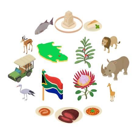 South Africa travel icons set. Isometric illustration of 16 South Africa travel vector icons for web
