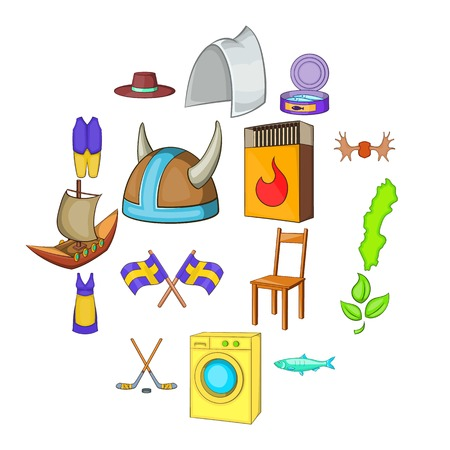 Sweden icons set in cartoon style. Elements or symbols of Sweden set collection vector illustration