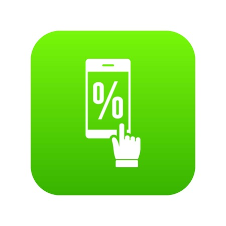 Percent on screen icon green vector isolated on white background