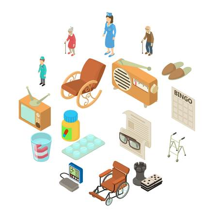 Nursing home icons set. Isometric illustration of 16 nursing home vector icons for web