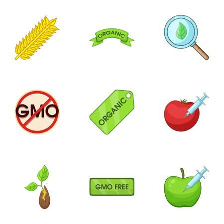 GMO icons set. Cartoon set of 9 GMO vector icons for web isolated on white background Illustration