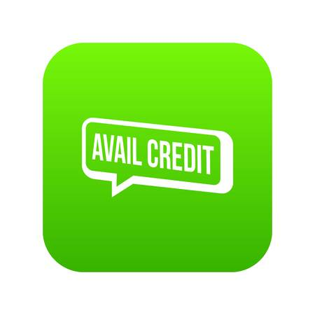 Avail credit icon green vector isolated on white background Stock Vector - 99769668
