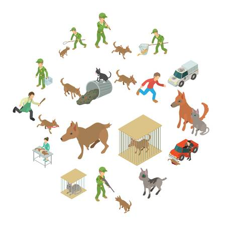 Stray animals icons set. Isometric illustration of 16 stray animals vector icons for web