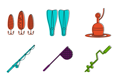 Fishing tool icon set. Color outline set of fishing tool vector icons for web design isolated on white background