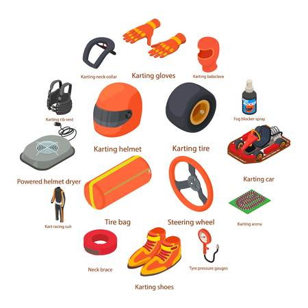 Karting equipment icons set. Isometric illustration of 16 karting equipment vector icons for web