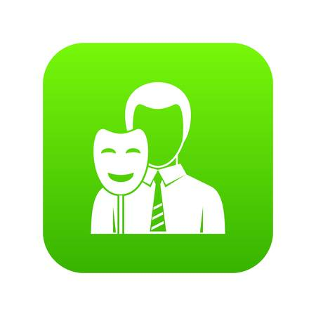 Businessman holding smile mask icon digital green for any design isolated on white vector illustration
