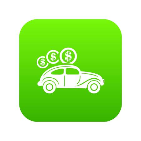 Car on credit icon green vector isolated on white background