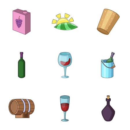 Alcoholic drink icons set. Cartoon set of 9 alcoholic drink vector icons for web isolated on white background