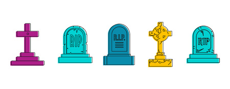 Grave icon set. Color outline set of grave vector icons for web design isolated on white background Çizim