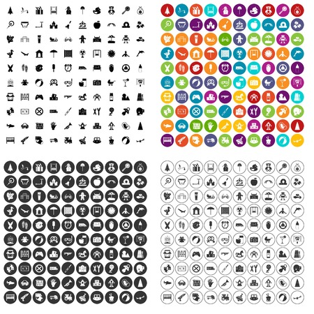 100 childhood icons set vector in 4 variant for any web design isolated on white 向量圖像