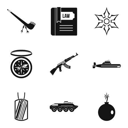 Ammunition icons set. Simple set of 9 ammunition vector icons for web isolated on white background Çizim