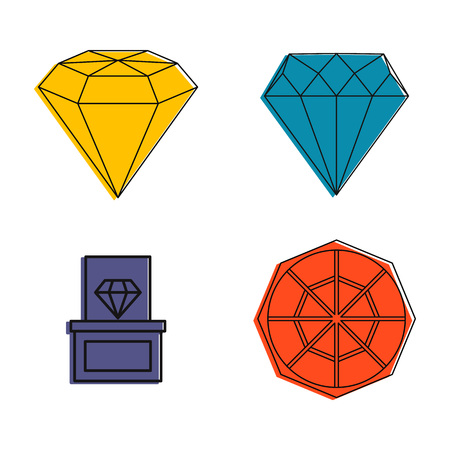 Diamond icon set. Color outline set of diamond vector icons for web design isolated on white background Illustration