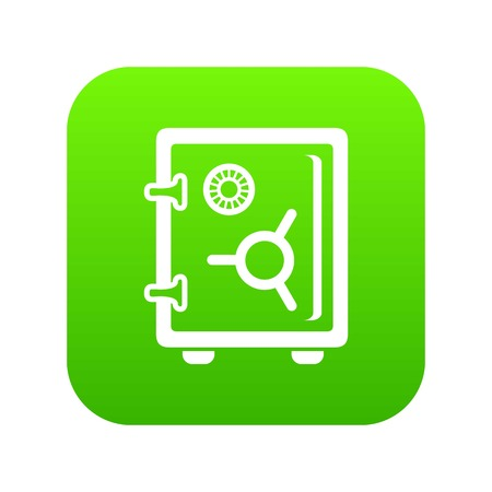 Safe icon green vector isolated on white background Illustration