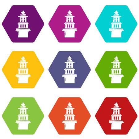 Marine lighthouse icons 9 set coloful isolated on white for web