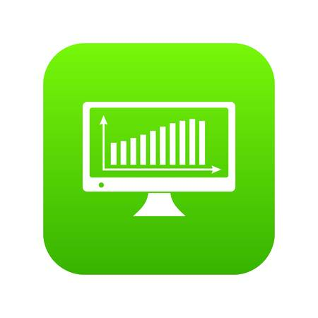Graph on the monitor icon green vector isolated on white background Illustration