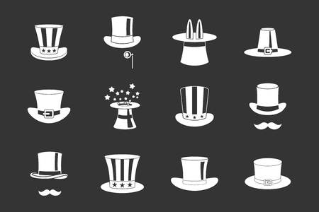 Top hat icon set vector white isolated on grey background Illustration