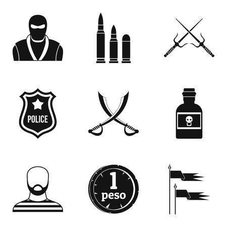 Military equipment icons set. Simple set of 9 military equipment vector icons for web isolated on white background Çizim