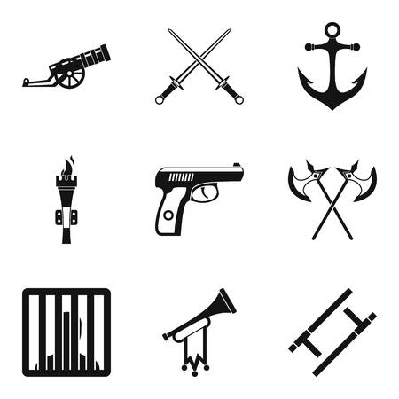 Gun icons set in Simple set of 9 gun vector icons for web isolated on white background Çizim