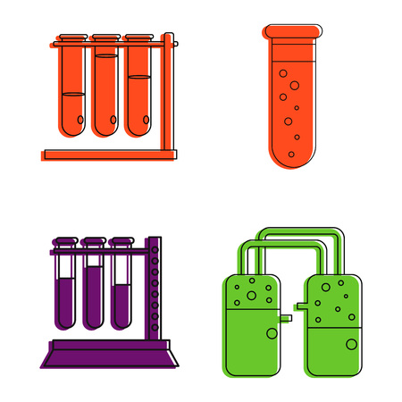 Color outline set of chemical tube vector icons for web design isolated on white background Illustration