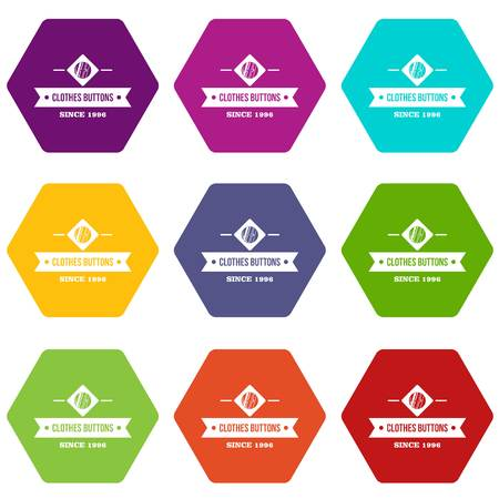 Clothes button element icons 9 set coloful isolated on white for web 일러스트