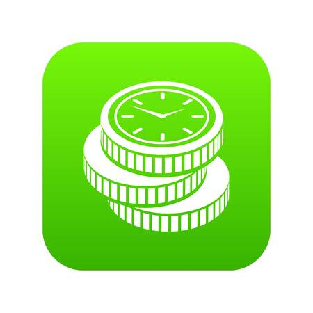 Coin icon green vector isolated on white background