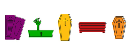 Coffin icon set. Color outline set of coffin vector icons for web design isolated on white background